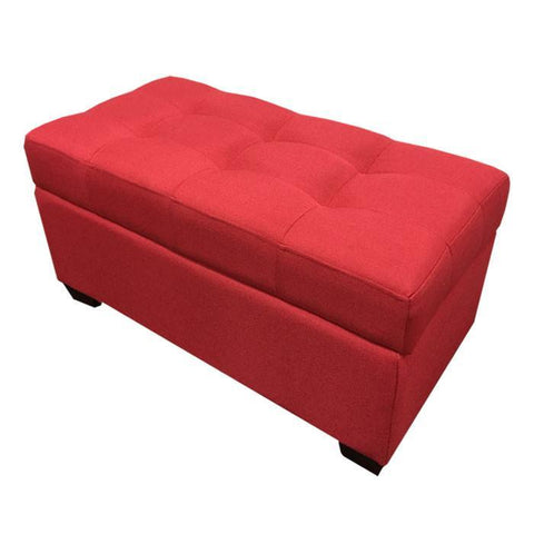 W01 Canvas Wood Storage Ottoman - Medium - Red
