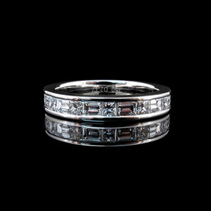 Channel set baguette and princess cut diamonds