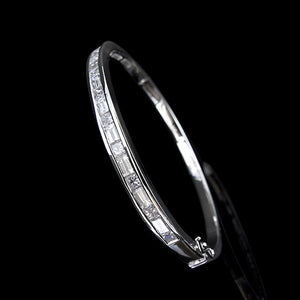 Princess cut and baguette bangle