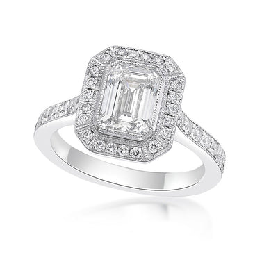 Emerald Cut with Micropave Halo