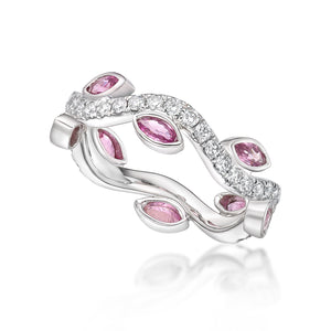 Pink Sapphire and Diamond petal ring