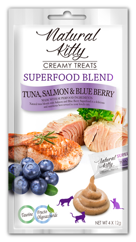 (NEW!) Natural Kitty Creamy Treats, SUPERFOOD BLEND - Tuna, Salmon & Blueberry