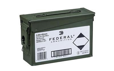 Federal M193 5.56x45 NATO 55 Grain Weight Full Metal Jacket Boat Tail - 420 Round Ammo Can