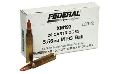 Federal XM193 5.56x45 NATO 55 Grain Full Metal Jacket Boat Tail