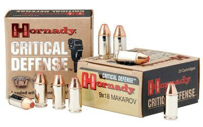 Hornady Critical Defense 9x18 Makarov 95 Grain Weight FTX Jacketed Hollow Point
