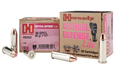 Hornady Critical Defense Lite 38 Special 90 Grain FTX Jacketed Hollow Point
