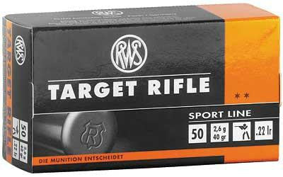 RWS Ammo 22 Long Rifle 40 Grain Target Rifle Lead Round Nose