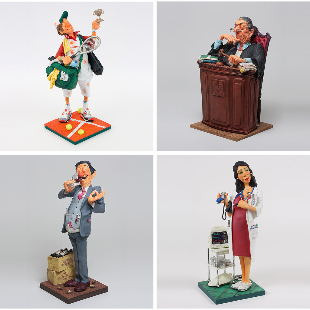 Some of Forchino's Professional Sculptures - a Tennis Player, Judge, and Lady Doctor and Wine Taster