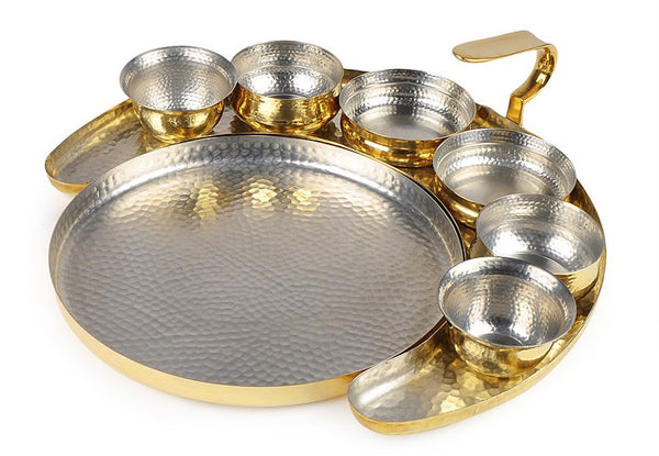 Brass Crescent Thali by AnanTaya Decor