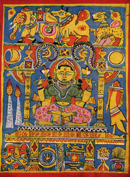 15th Century Jain Miniature Painting depicting Goddess Lakhsmi
