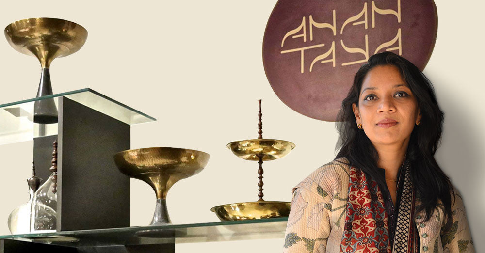 Founder of AnanTaya Decor, Geetanjali Kasliwal in the AnanTaya store
