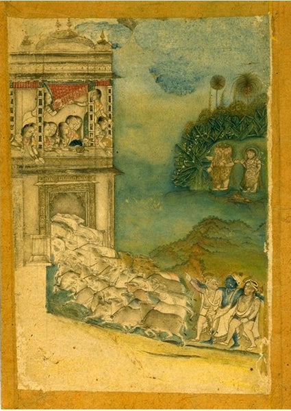 Miniature Painting of Krishna and his fellow cowherds bringing cows home
