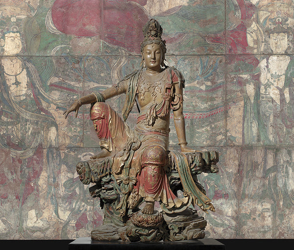 Polychromatic wooden sculpture of Guan Yin