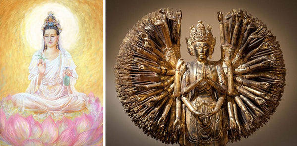 Guan Yin depicted in different mediums, painting and sculpture