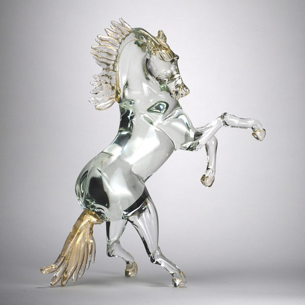 Glass Sculpture of Prancing Horse From Murano, Italy