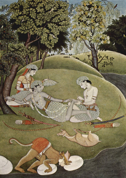 Kangra style Miniature Painting depicting Rama and Sita in Forest