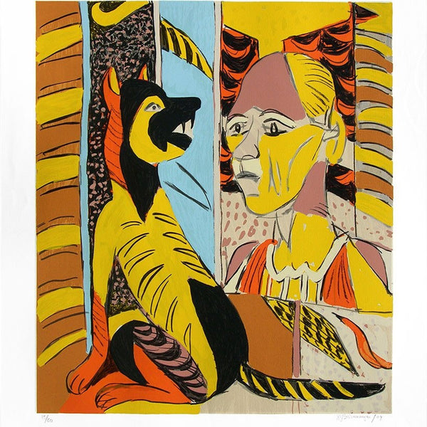 Signed Limited Edition Serigraph of a K.G. Subramanyan artwork depicting a lady and a dog