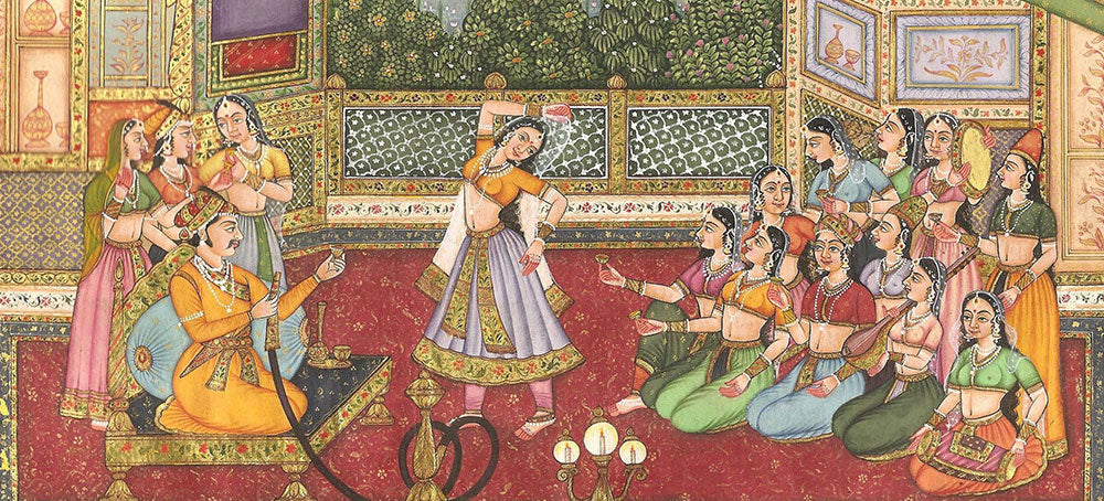 Mughal Miniature painting of Emperor with female attendants