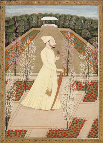 Miniature style Portrait of Raja Amrit Pal of Basohli
