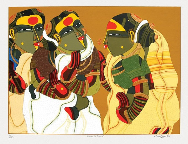 Limited Edition Serigraph of 'Women in Gossip' by artist Thota Vaikuntam