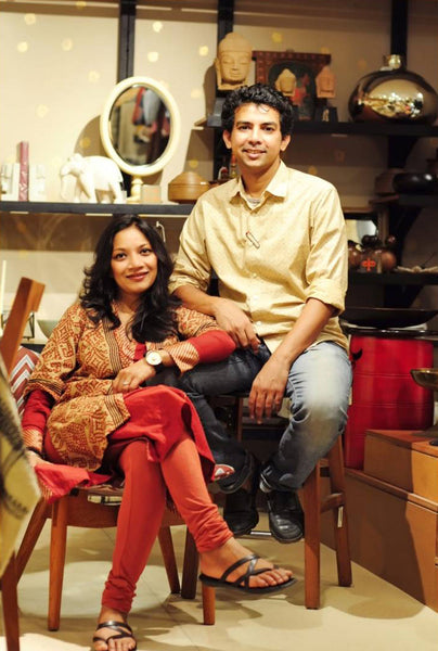 Geetanjali Kasliwal and her husband, Ayush Kasliwal in the AnanTaya store