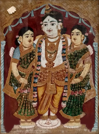 Krishna with Rukmini and Satyabhama