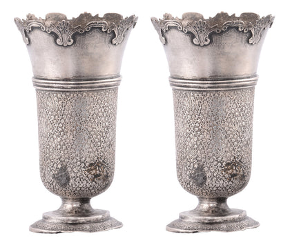 Pair of Silver Flower Vases