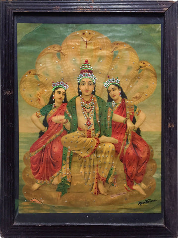 Vishnu with Shridevi & Bhudevi,[product_collection],Indian Arts Palace (AB),Raja Ravi Varma - Artisera
