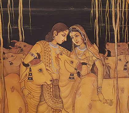 Radha Krishna With Cows - II