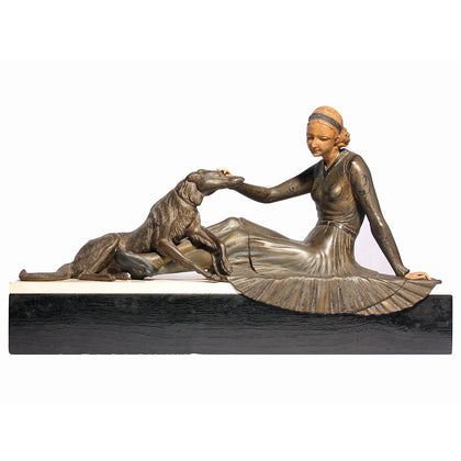 Art Deco Lady with Dog,[product_collection],Essajees, - Artisera