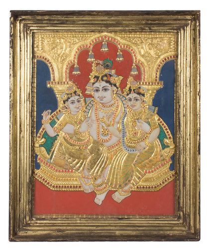 Krishna with Radha and Rukmini