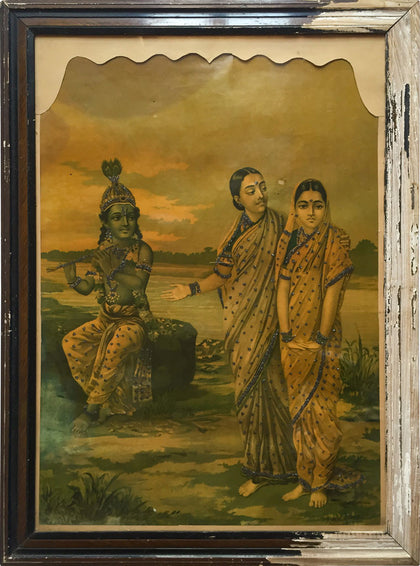 Manini Radha - Introducing Radha to Krishna,[product_collection],Indian Arts Palace (AB),Raja Ravi Varma - Artisera