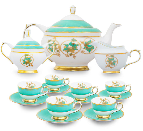 Spring in Udaipur 15 Piece Tea Set,Nishita Fine Dinnerware, - Artisera