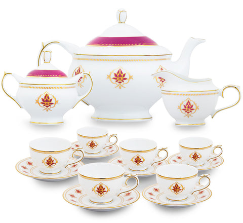 The Lotus at Fatehpur 15 Piece Tea Set,[product_collection],Nishita Fine Dinnerware, - Artisera