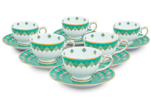 Banaras Tea Cups and Saucers (Set of 6),[product_collection],Nishita Fine Dinnerware, - Artisera