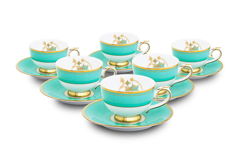 Spring in Udaipur Tea Cups and Saucers (Set of 6),Nishita Fine Dinnerware, - Artisera