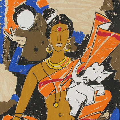Laxmi,[product_collection],Archer Art Gallery,M.F. Husain - Artisera