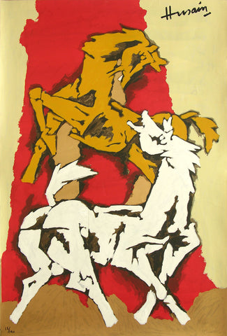 Horses - III,[product_collection],Archer Art Gallery,M.F. Husain - Artisera