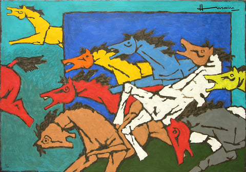 Horses (Appropriation),[product_collection],Archer Art Gallery,M.F. Husain - Artisera