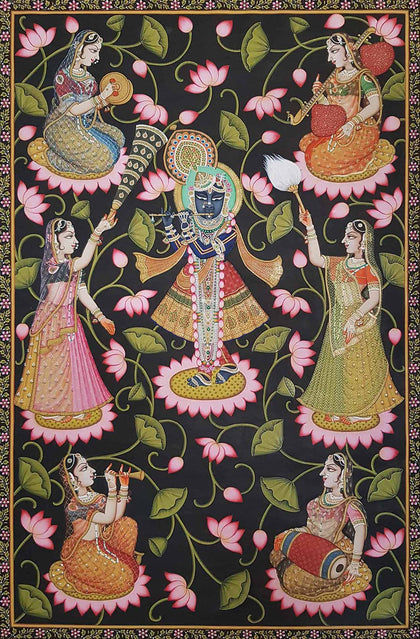 Shrinathji With Gopis Playing Music