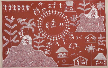 Warli - Untitled 20,[product_collection],Must Art,Ankush Kakuram Karmoda - Artisera