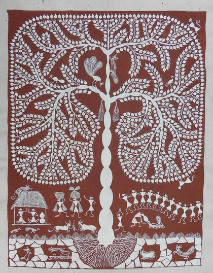 Warli - Untitled 02,[product_collection],Must Art,Anil Chaitya Vangad - Artisera