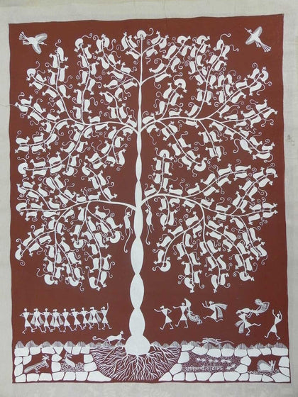 Warli - Untitled 08,[product_collection],Must Art,Anil Chaitya Vangad - Artisera
