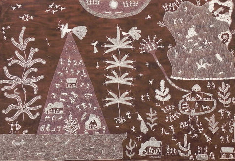 Warli - Untitled 12,[product_collection],Must Art,Anil Chaitya Vangad - Artisera