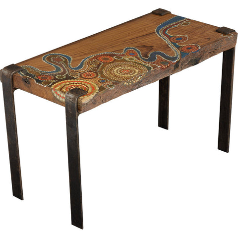 Aboriginal Side Table,Square Barrel, - Artisera