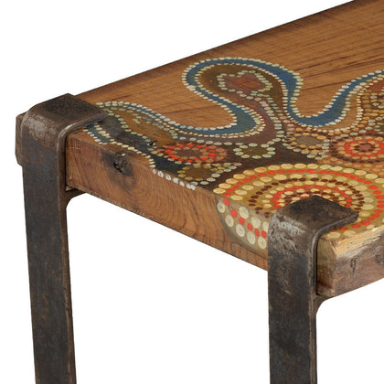 Aboriginal Side Table,[product_collection],Square Barrel, - Artisera