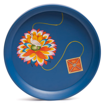 Kalam Table, 'The Egret on Rainbow Lotus Yantra',[product_collection],Anantaya, - Artisera