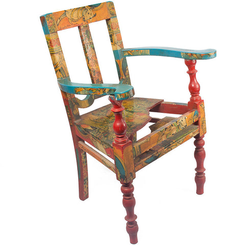 Chair painted by Anjolie Ela Menon,Essajees, - Artisera