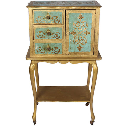 Painted Cabinet in Teal and Gold,[product_collection],The Great Eastern Home, - Artisera