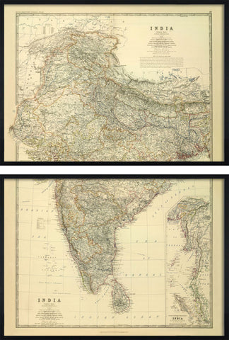 Large Map of India by Keith Johnston, 1861,The Calcutta Restoration Co., - Artisera